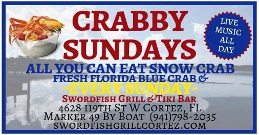 Crabby Sundays poster. All you can eat snow crab. Live music all day.